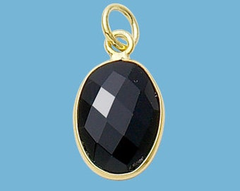 Small Black Onyx Gold Plated Oval Pendant, 10x14mm