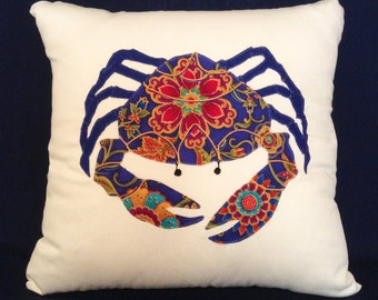 "Throw Pillow Cover, Crab Pillow Cover, 17x17"",Handmade Pillow, Blue Crab, Pillow Cover,Floral Pillow Cover,Designer Pillow, Gift MDPC126"