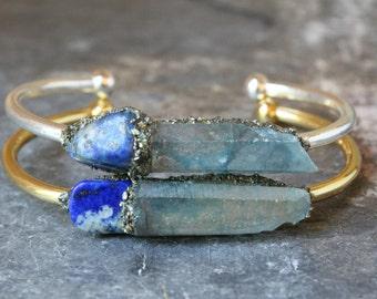 Blue Lapis Lazuli Bracelet - Boho Jewelry for Her - Raw Boho Cuff Bracelet - Bohemian Jewelry - Girlfriend Gift Bracelet - Aqua Aura Jewelry