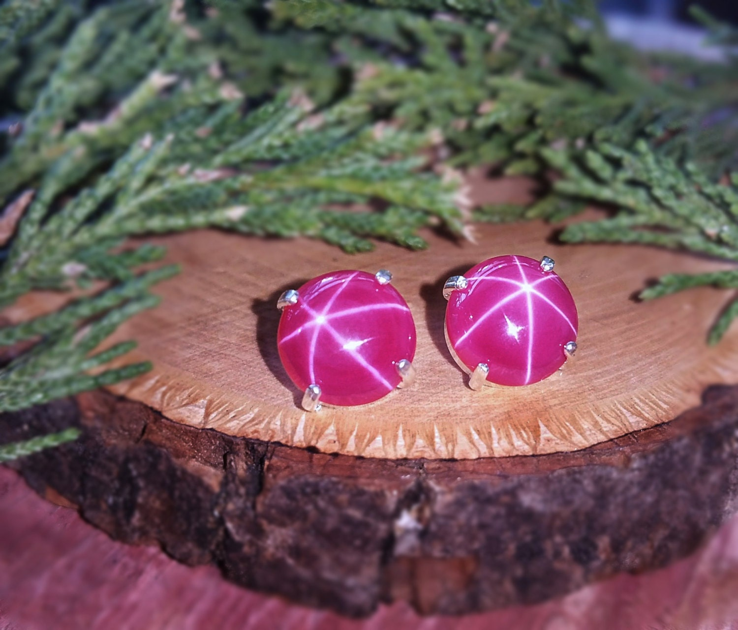 Large Star Ruby Studs, Star Ruby Earrings, Necklace Genuine Star Ruby,  Natural