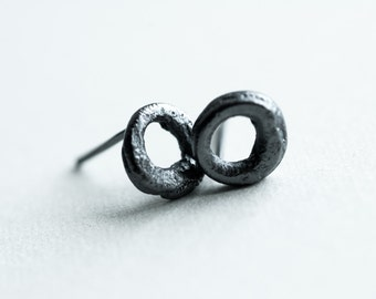 small calligraphy studs - simple raw rough rustic textured oxidised fused silver circle post earrings