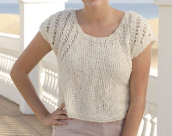 Knit alpaca Top with lace pattern, hand knitted sweater with  boucle yarn, fpr all season,