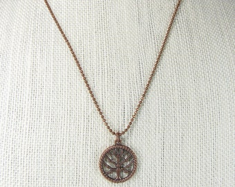 Tree of Life necklace,  copper necklace, pendant necklace, layering necklace with birthstone option