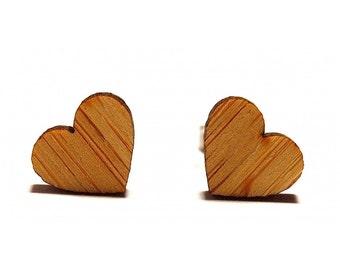 Mini Love Heart Earrings - Bamboo, Love Heart Studs, Love Heart Earrings, Heart Stud Earrings, Heart Earrings, Wooden Earrings, Love Studs