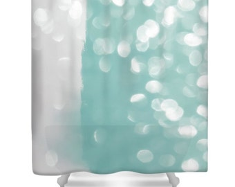 Aqua Bokeh Shower Curtain,Abstract Teal Grey Designer Gray Bath Curtain,Aqua  Shower Accessories