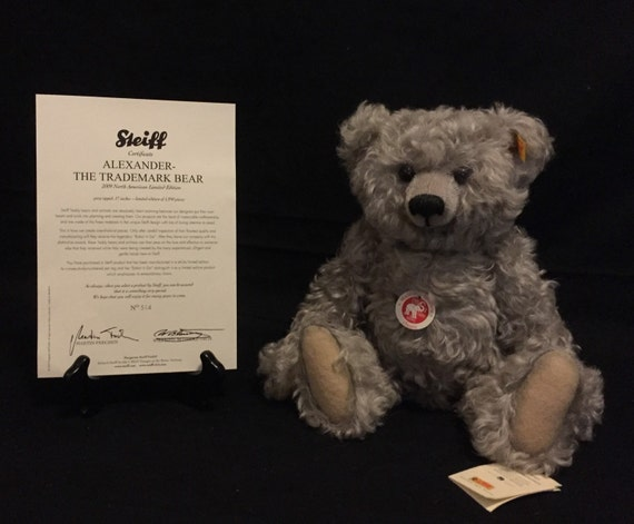 "FREE SHIPPING-13"" Standing-Steiff-Alexander-Jointed-Grey-Mohair-Made Germany-Teddy Bear-In Original Box-COA-#669712"