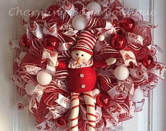 Christmas Snowman Wreath - Peppermint Wreath - Peppermint Snowman Mesh Wreath - Christmas Mesh Wreath - Christmas Wreath - Holiday Wreath