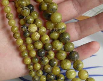Natural Yellow Turquoise Beads, Round 4 6 8 10 12mm December Birthstone Beads Supplies