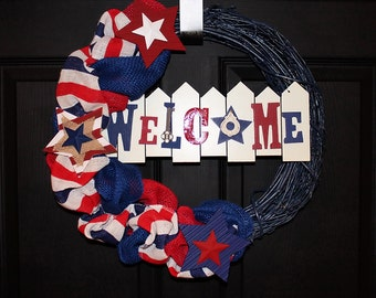 Patriotic Spring Summer Door Wreath