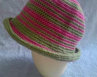 Kids Crochet Hat Pink Green Striped One Size