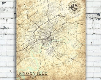 Knoxville Tn Canvas Print Tennessee Tn Knoxville Vintage Map Town Plan Wall Art Print City Map