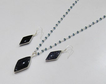 Sterling Silver Pendant Set with blue topas quartz Rosary chain/ Fancy Shape Stone / Size18x 45mm including Bail /Hydro Quartz Stone Jewelry