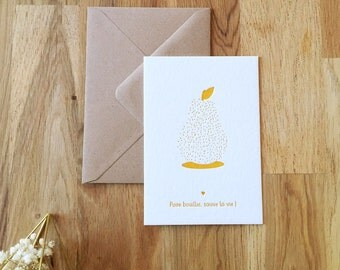 "POSTCARD ""Boiled PEAR saves life"" Letterpress Pantone"