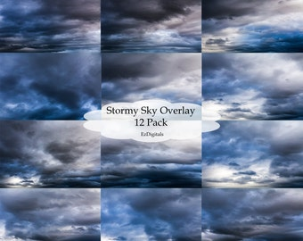 Stormy sky overlays, digital sky overlays, sky replacement, sky overlay, stormy skies, cloudy sky,