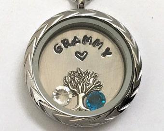 GRAMMY - Floating Charm Locket -  Memory Locket - Custom Hand Stamped Gift for Mom