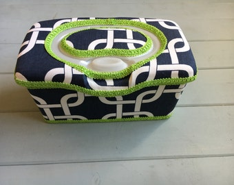 White squares on navy, Wipe Case, Wipes Case, Nursery Wipe Case, Baby Wipes Case, Baby Wipe Case, Wipes Holder, Wipes Container, Baby Gift