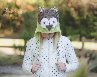 Green Owl Hat, Owl Beanie, Baby Owl, Newborn Beanie, Crochet Owl, Baby Bird Hat, Newborn Owl Hat, Owl Hat for Kids, Adult Owl Hat, Baby Hat