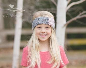 Baby Headband, Baby Girl Headband, Newborn Headband, Flower Headband, Infant Headbands, Flower Girl Headband, Gray Headband, Crochet Band
