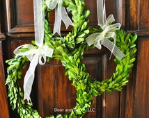 Preserved Boxwood~Spring Wreath~Round Wreath with Sheer Ribbon~Tablescape~window pane wreath~Wedding wreath