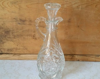 Vintage Glass Vinegar Jar/ Vintage Glass Cruet/ Vintage Glass Oil Jar/ Salad Dressing Jar/ Vintage Cut Glass Vinegar Jar/ Vintage Kitchen