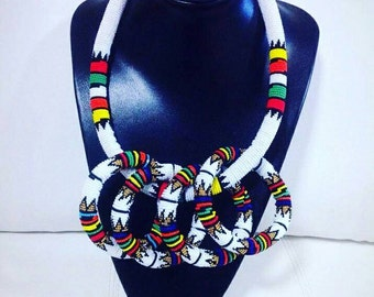 Zulu beaded thick headband/necklace plus 3 thick bangles