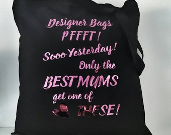 Quirky Cheeky Black Tote Shopping Bag Shopper Best Mum Mother Mummy  friend. Designer gift Cotton Canvas Pink Black