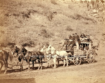 "1890 ""The Last DEADWOOD COACH"" - Black Hills South Dakota - Re-print Photograph avail in Sepia or B&W sizes 8x10 11x14 16x20 Photo Picture"
