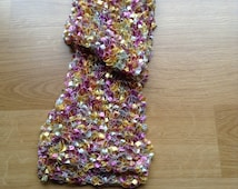 Decorative skinny scarf, metallic ribbon ladder yarn, gold, silver, pink and lilac, valentines present idea, fashion scarf