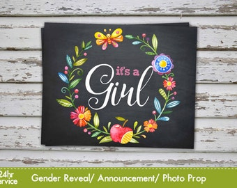 It's a girl, Gender Reveal Baby Shower Announcement, Baby Girl Gender reveal Photo Prop Chalkboard Announcement INSTANT DOWNLOAD