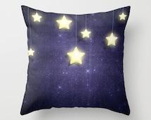 Throw Pillow w/ Insert. Stars Throw Pillow. Bedroom. Blue Pillow. Blue Cushion. Bed Pillow. Sofa Cushion. Elegant Pillow. Space Throw Pillow