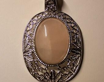 Rose Quartz Pendant with Silver Set-In
