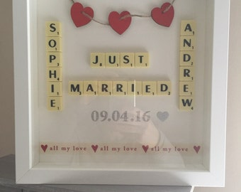 Scrabble Picture Frame wedding anniversary married.