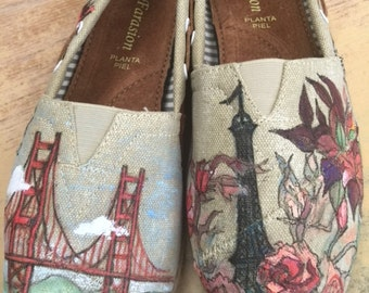 Custom painted shoes for someone who loves to travel the world!