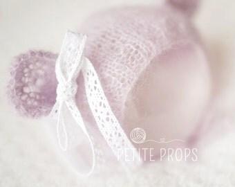 Mohair Teddy Bear Bonnet,Teddy Bear Hat, Newborn Bonnet,Newborn Hat,Photography props, newborn girl, newborn boy, handmade,UK Seller