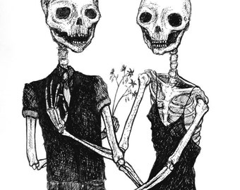 Rot With Me - Skeleton lovers Valentine print