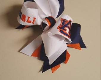 Auburn Hairbow, Stacked, Monogrammed, War Eagle