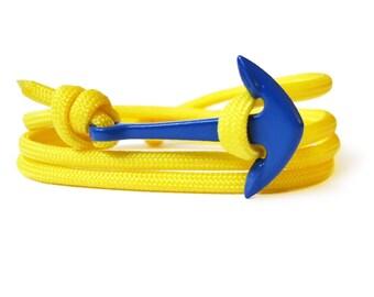 Yellow & Blue, Rope Bracelet, Anchor Bracelet, Men's Bracelet, Women's Bracelets. Paracord Bracelet.
