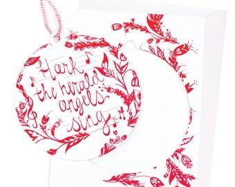 Angels Sing Ornament Christmas Card, Ornament, Music ,Christmas Carols, Holiday Card, Christmas Card, Scandinavian, Woodland Christmas
