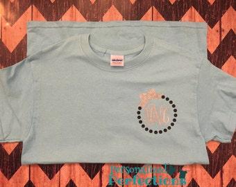 Monogram Bow Circle Adult/ Teen/ Youth Shirt