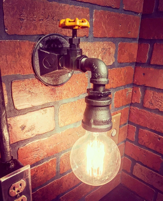 Steampunk Industrial Wall Sconce Light with operational valve