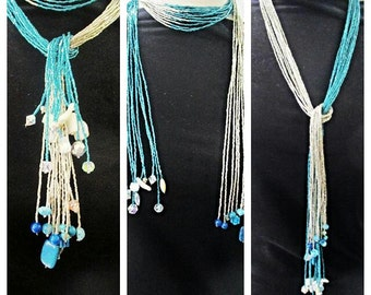 Beaded scarf , beaded scarf necklace , necklace scarf , scarf necklace , turquoise necklace , silver necklace , gemstone necklace, crystal