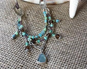 Sea Glass Triple-Strand Necklace