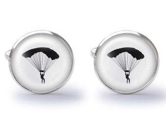 Parachute Cufflinks - Paratrooper Cuff Links - Sky Diving Cufflink (Pair) Lifetime Guarantee (S0473)