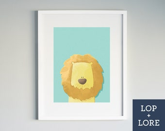 "Kids Nursery Print | Illustrated Print | Colorful Art | Lion | Safari Nursery | Lion Cub |  Teal Orange | ""Lion Hearted"""