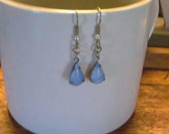 Sale Powder blue and white teardrop earrings