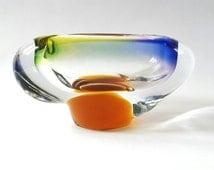 Czech Josef Hospodka Chribska Glass Ashtray ~ Multicolored Glass Ashtray ~ Vintage Art Glass Ashtray ~ Bohemian Hand Made Glass Ashtray