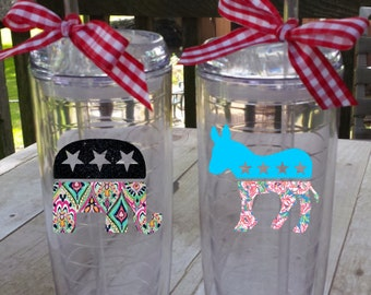 Republican or Democrat Tumbler, Your Choice!  2016 Election, Party Affiliation, Show Your Party Support!