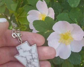 White Howlite Arrowhead on Silver Chain