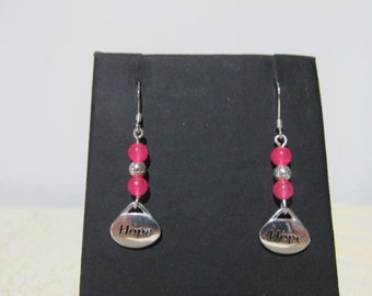 Sterling Silver Breast Cancer Awareness Earrings