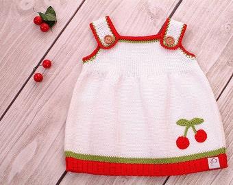 Baby dress knitting dress cherry dress cherry
